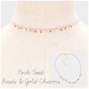 Pink or Gray Seed Beads w/Gold Charms,NWT